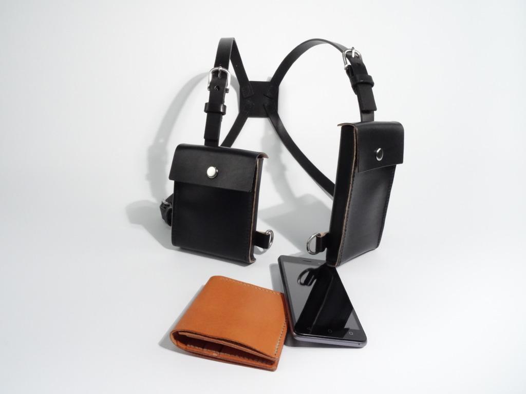 Lederen Schouderholster voor telefoon en portefeuille